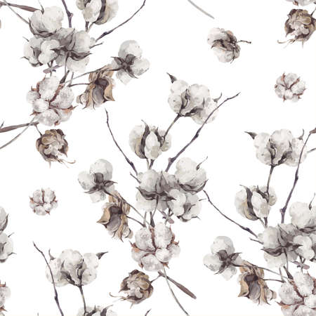 Photo for Vintage bouquet of twigs and cotton flowers. Botanical illustrations. Seamless pattern. - Royalty Free Image