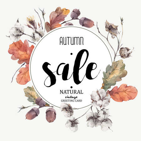 Autumn vintage bouquet of twigs, cotton flower, yellow oak leaves and acorns. Botanical illustrations. Sale card. Isolated on white background