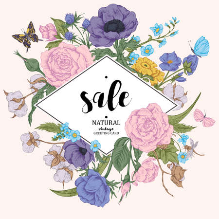 Vintage floral vector discount card. Roses, anemones, butterfly and wildflowers. Botanical natural anemones and roses sale banner. Nature vintage floral frame sale