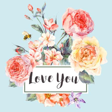 Illustration pour Vector spring vintage floral greeting card with bouquet of roses - image libre de droit