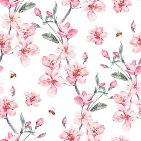 Illustration pour Vintage garden vector spring seamless background - image libre de droit