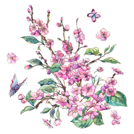 Foto de Watercolor pink blooming branches of cherry peach, pear, sakura - Imagen libre de derechos