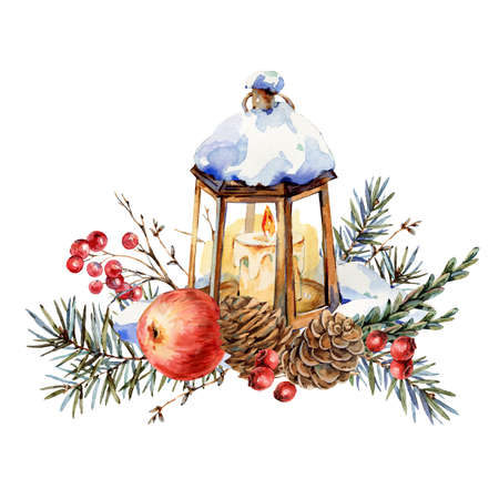 Photo pour Watercolor Christmas natural greeting card of fir branches, red apple, berries, pine cones, lantern - image libre de droit