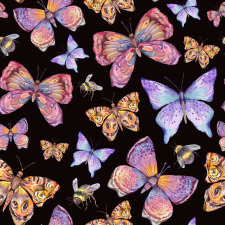 Photo pour Watercolor natural colorful butterfly seamless pattern. - image libre de droit