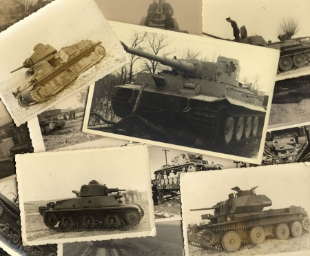 Tanks. Collage of vintage grungy black and white photos taken during world war II. all photos included where taken by my deceased father. I am owner of all rights incl. copyright.