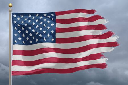 Photo pour Flag of United States tattered and torn with stormy sky - image libre de droit