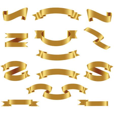 Illustration pour Gold Ribbon Set In Isolated White Background, Vector Illustration. Gold Ribbon Set In Isolated White Background, Vector Illustration - image libre de droit
