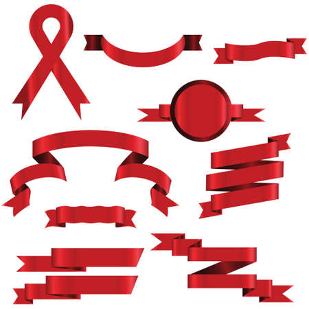 Illustration pour RED Ribbon Set In Isolated For Celebration And Winner Award Banner White Background, Vector Illustration can use for anniversary, birthday, party, event, holiday And others. - image libre de droit