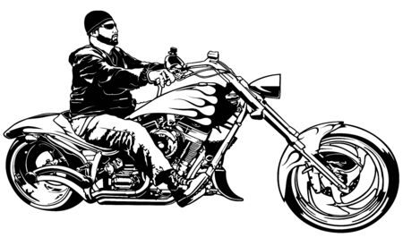 Illustration pour Biker on Motorcycle from Profile - Black and White Illustration with Rider on Motorcycle, Vector - image libre de droit