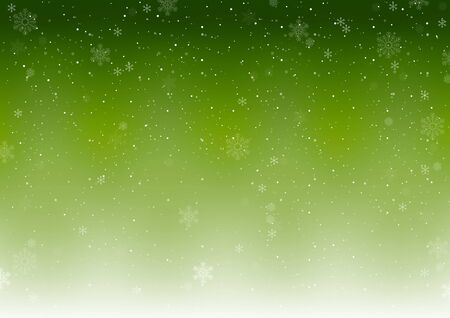 Illustration pour Green Xmas Winter Background with Falling Snowflakes - Abstract Snowfall Illustration, Vector - image libre de droit