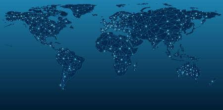 Illustration pour Dark Blue World Map Showing Communication Networks - Abstract Background Illustration, Vector - image libre de droit