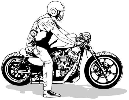 Illustration pour Motorcyclist on   Motorcycle - Black and White Drawing Illustration Isolated on White Background, Vector - image libre de droit