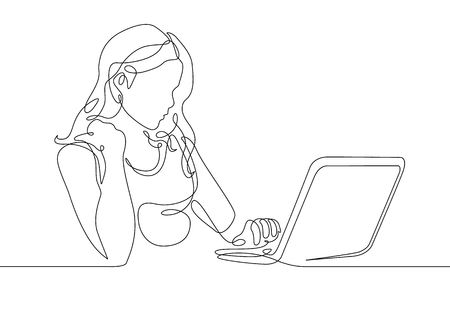 Ilustración de Continuous one line drawing girl sits at a laptop - Imagen libre de derechos