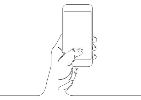 Illustration pour Continuous one line drawing with hand and phone - image libre de droit