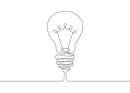 Illustration pour Continuous one line drawing light bulb symbol idea. - image libre de droit