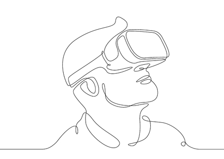 Ilustración de Continuous one line drawing Man in glasses device virtual reality - Imagen libre de derechos
