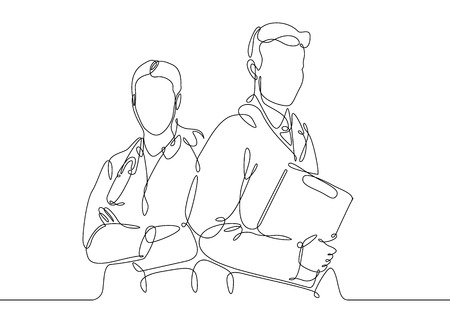 Ilustración de Continuous one line drawing doctor with stethoscop chief medical officer. - Imagen libre de derechos