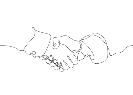 Ilustración de Continuous one line drawing hand palm fingers gestures. Business concept deal deals handshake. - Imagen libre de derechos