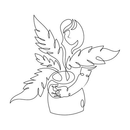 Illustration pour One continuous single drawn art line minimalism doodle agronomist farmer holding sprout, seedlings. Isolated image minimalist vector illustration - image libre de droit