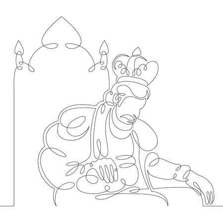 Illustration pour One continuous drawing line medieval historical european monarch king  in a crown sits on a throne .Single hand drawn art line doodle outline isolated minimal illustration cartoon character flat - image libre de droit