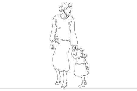 Illustration for Mother with her daughter for a walk. Family shopping trip. Motherhood. One continuous drawing line logo single hand drawn art doodle isolated minimal illustration. - Royalty Free Image