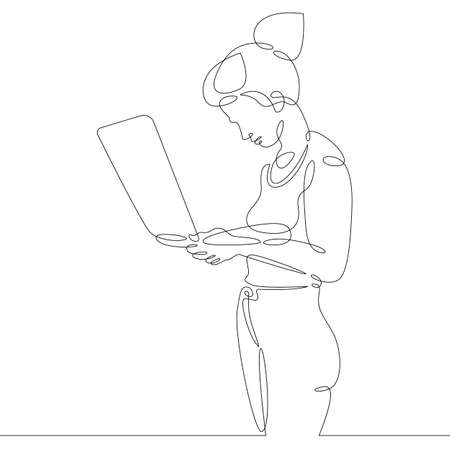 Illustration pour Female character at the work table in the office. Workplace laptop designer programmer manager. - image libre de droit