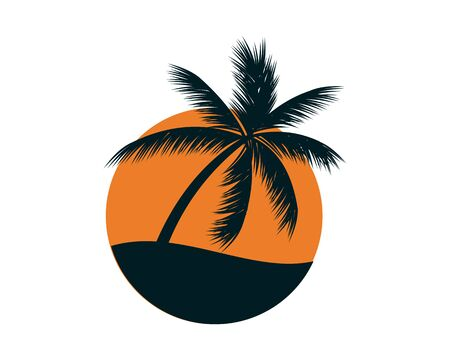 Illustration for Sunset with a Palm Symbol - Royalty Free Image