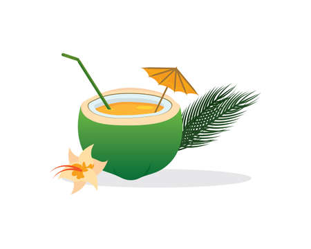 Illustration for Tropical Cocktail in Coconut with Straw and Umbrella - Royalty Free Image