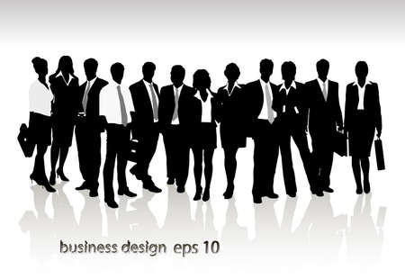 Illustration for Group of business people and office  - Royalty Free Image