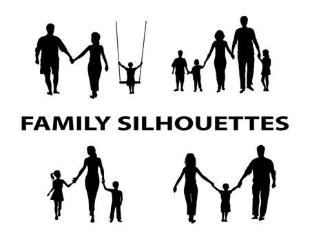 Illustration for silhouette of family group - Royalty Free Image