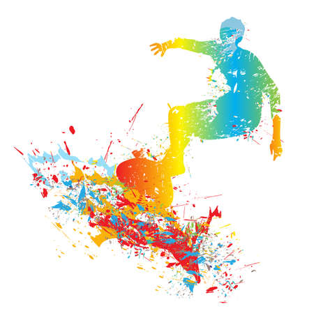 silhouette of the surfer from paint splashes