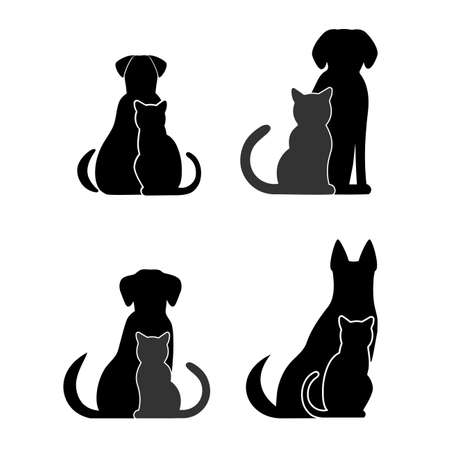 Silhouettes Of Pets Cat Dog Royalty Free Vector Graphics