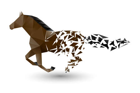 Illustration for running horse from the collapsing grounds - Royalty Free Image