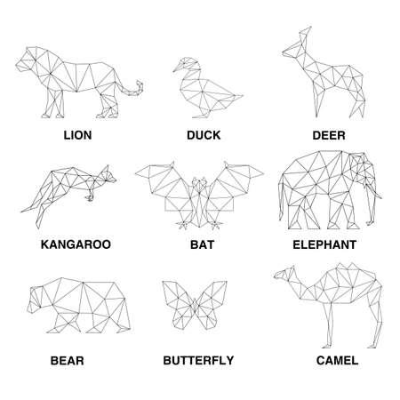 Foto für Geometric animals silhouettes. Set of polygons - Lizenzfreies Bild