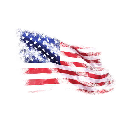 USA flag in grunge style on a white background