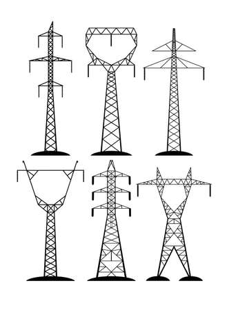 high-voltage lines isolated on white background