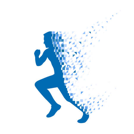 Running person collapsing on particles.