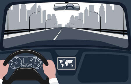 Illustration pour view of the road from the car interior vector illustration. - image libre de droit
