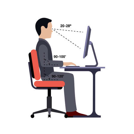 Illustrazione per Infographics correct posture at the computer silhouette of a man at a table on a white background. - Immagini Royalty Free