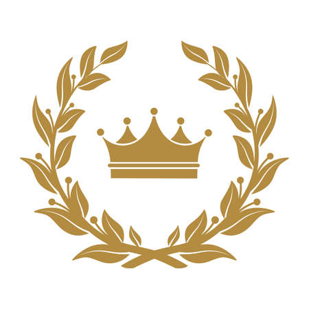 Illustration pour Heraldic symbol crown in laurel leaves. - image libre de droit