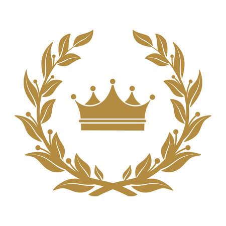Ilustración de Heraldic symbol crown in laurel leaves. - Imagen libre de derechos