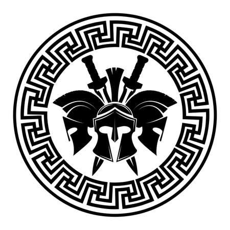 Illustration pour Spartan helmet military symbol vector icon. - image libre de droit