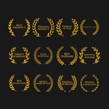 Illustration for Award icon with text in a laurel wreath vector illustration. - Royalty Free Image