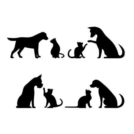 Illustration pour Set dog and cat vector illustration - image libre de droit