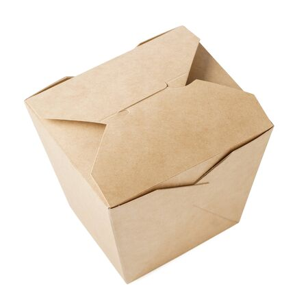Foto für Kraft paper box for takeaway food. Closed cardboard container for food delivery. Isolated on white background. - Lizenzfreies Bild