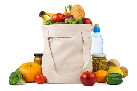 Foto für Reusable shopping tote bag full of various groceries - fruits, vegetables and bread. Isolated on white background. - Lizenzfreies Bild