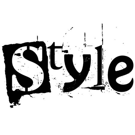 the word style written in grunge cutout style