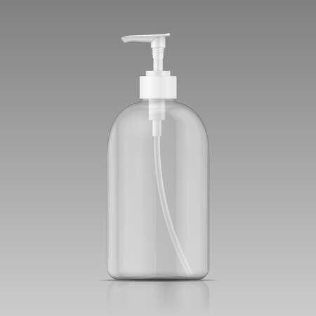 Clean plastic bottle template with dispenser for liquid soap, shampoo, shower gel, lotion, body milk. Vector illustration.