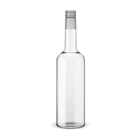 Glass vodka bottle with screw cap. Vector illustration. Glass bottle collection, item 11.