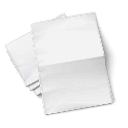 Blank newspapers pile with unfolded one on white background. Top view. Vector illustration. EPS10.